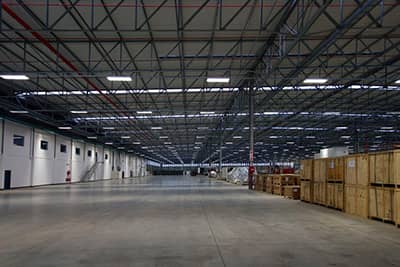 Interior of a warehouse with boxes stacked