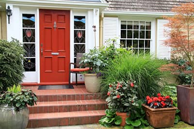 Front door and porch of a home