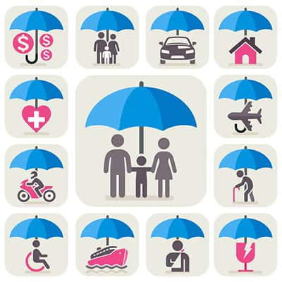 infographic of a variety of images with umbrellas to illustrate umbrella insurance